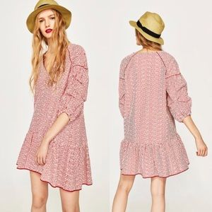 ZARA RED STRIPED EMBROIDERED DRESS